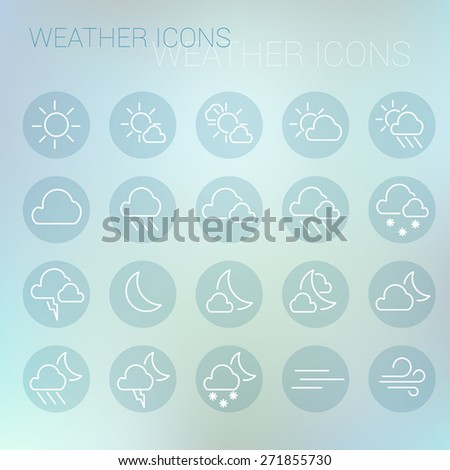 Weather icon set in blue circles and light blurred background - stock vector