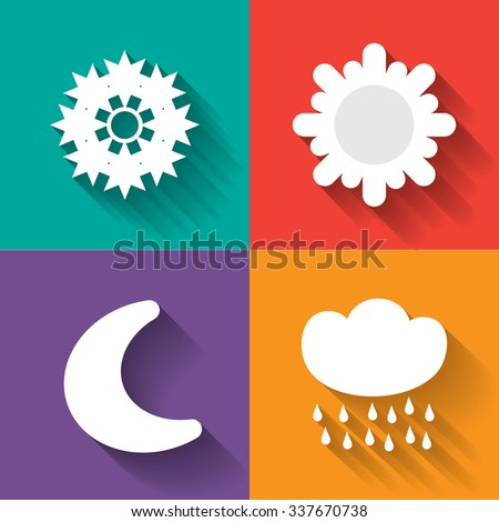 Weather icon set in white - stock vector