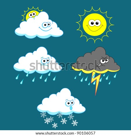 Weather icon set on blue background - stock vector