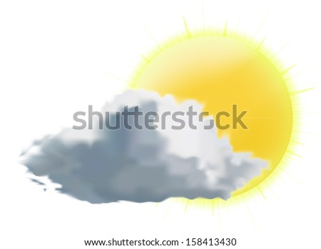 weather icon vector illustration, sun with cloud - stock vector