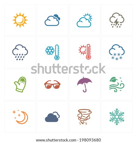 Weather Icons - Colored Series  - stock vector