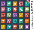 weather icons- flat design - stock vector