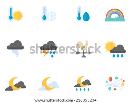 Weather icons in flat color style - stock vector