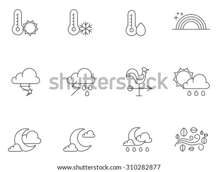 Weather icons in thin outlines. Windy, partly cloudy, storm, forecast