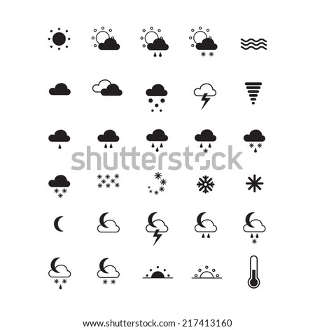 Weather icons isolated on white. Set of symbols for widgets, sites, apps and others