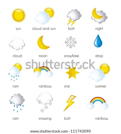 weather icons isolated over white background. vector illustration - stock vector