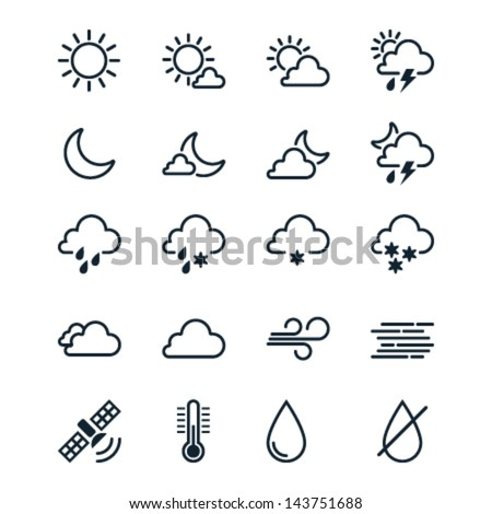 Weather icons line theme - stock vector
