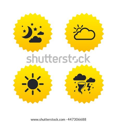 Weather icons. Moon and stars night. Cloud and sun signs. Storm or thunderstorm with lightning symbol. Yellow stars labels with flat icons. Vector - stock vector