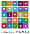 Weather icons on color background. Vector illustration. - stock vector