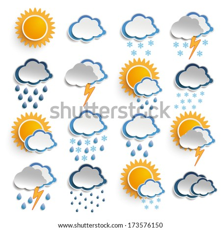 Weather icons on the white background. Eps 10 vector file.