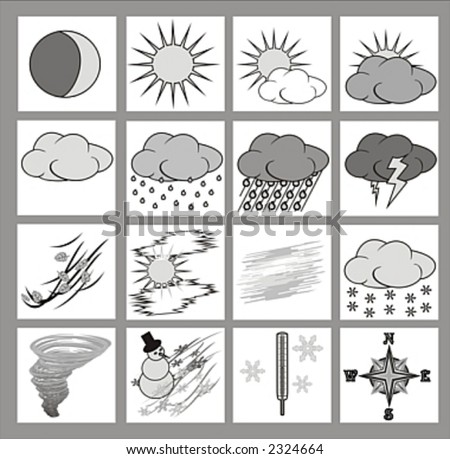weather icons or cliparts greyscale with black outlines on white background