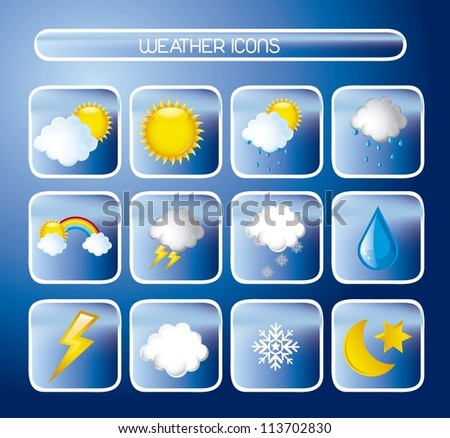 weather icons over blue background. vector illustration - stock vector