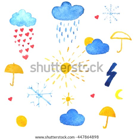 Weather icons. Rain drops of red hearts, sun, snowflakes in the blue sky vector illustration  - stock vector
