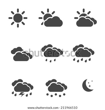 Weather icons set black simple flat symbols isolated on white background. Vector illustration - stock vector