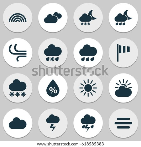 Weather Icons Set Collection Cloudy Nightly Stock Vector 2018