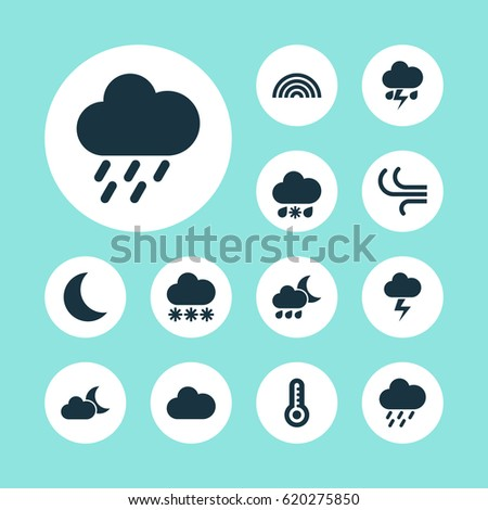 Weather Icons Set Collection Wet Cloudy Stock Vector Hd Royalty
