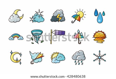 Weather icons set,eps10 - stock vector