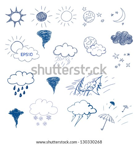 Weather icons set. Hand drawn sketch illustration isolated on white background - stock vector