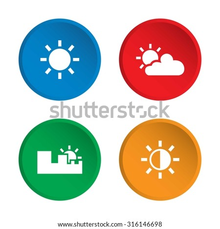 Weather icons. Set of weather icons. Vector. Illustration. White icons. - stock vector