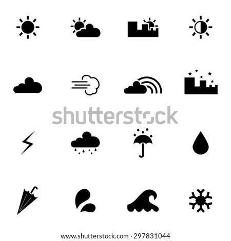 Weather icons. Set of weather icons. Vector. Silhouette. Black icons. White background - stock vector
