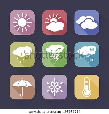 weather icons set on a dark background - stock vector