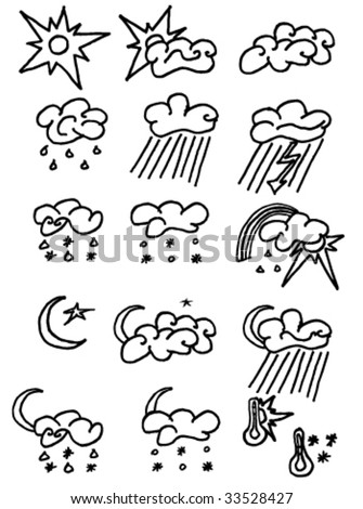 Weather icons set on white. Easy to use. Illustrator vector image. - stock vector