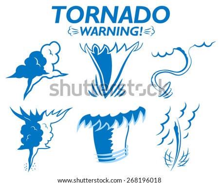 Weather icons set tornado warning clouds wind gusts of rain hail storm. Tornado season in the USA - stock vector