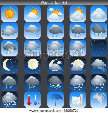 Weather Icons set vector on grey background