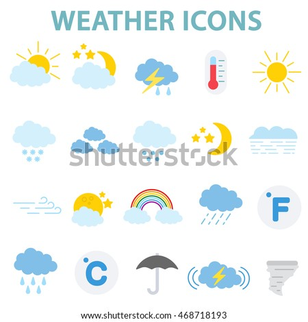 weather icons set.weather conditions collection. flat design