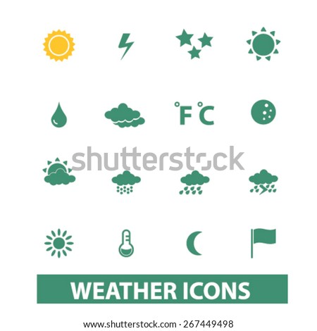 weather icons, signs, illustrations concept design set, vector - stock vector