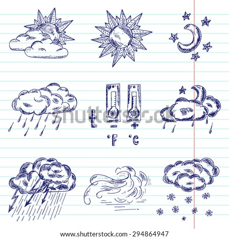 Weather icons. Vector collection of weather symbols - hand drawn doodle pen