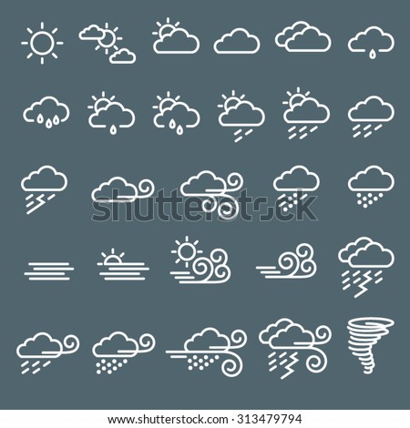 Weather icons - Vector editable strokes
