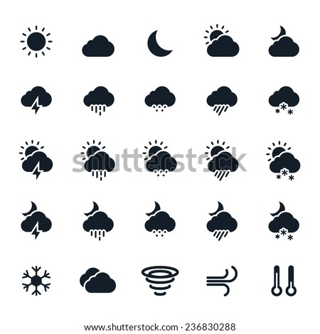 Weather Icons Vector Illustration - stock vector