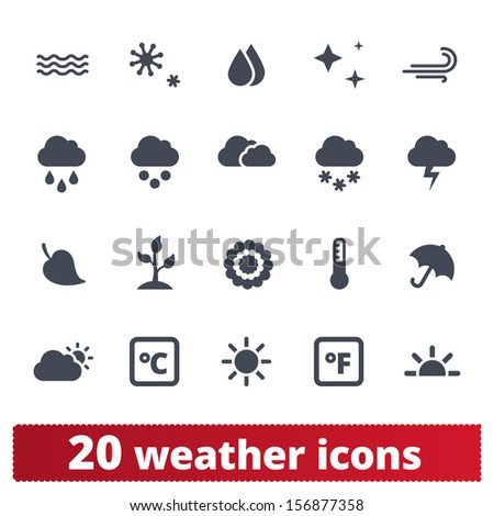 Weather icons: vector set of seasons, meteorology, natural phenomena signs - stock vector