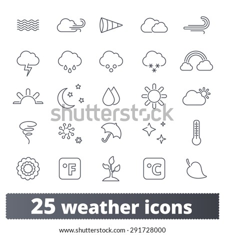 Weather icons: vector set of thin line seasons signs. Forecast interface design elements. Outline series. - stock vector