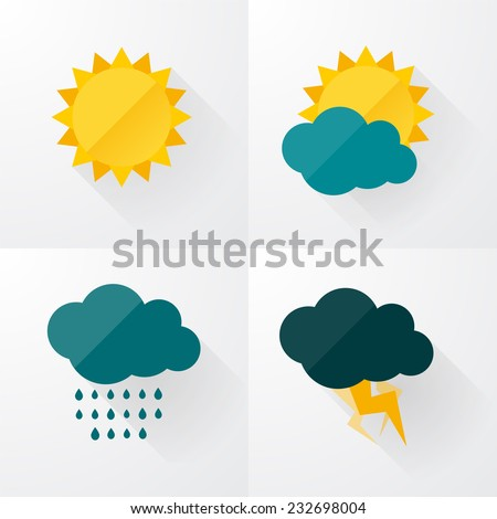 Weather icons with long shadows - stock vector