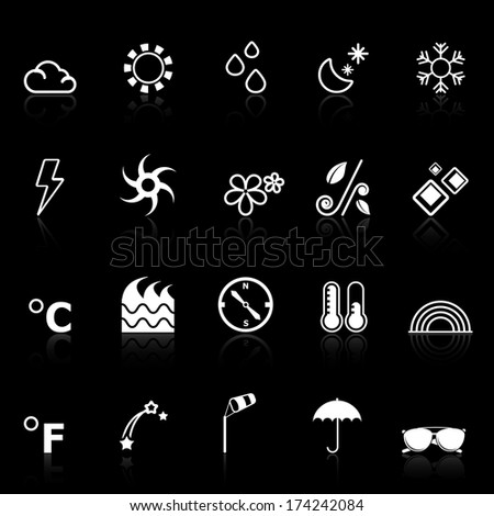 Weather icons with reflect on black background, stock vector
