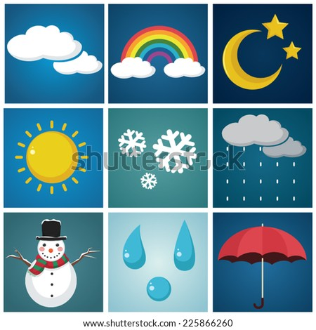 Weather Illustration Set - stock vector