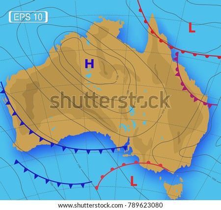 Weather map australia meteorological forecast vector stock vector weather map australia meteorological forecast vector illustration gumiabroncs Choice Image