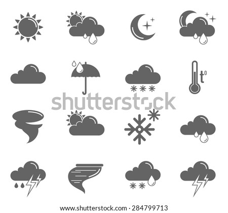 Weather meteorology and climate symbols black icons set isolated vector illustration