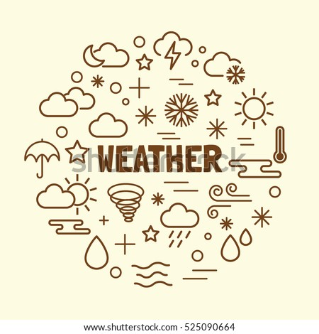 weather minimal thin line icons set, vector illustration design elements
