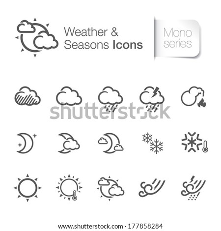 Weather & seasons related icons - stock vector