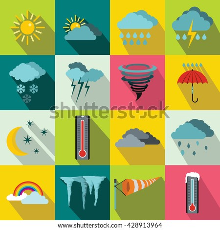 Weather set in flat style for any design - stock vector