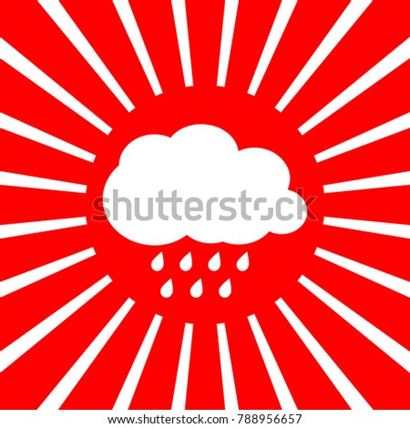Weather sign illustration. Vector. White icon on red sun with rays as background. Isolated.