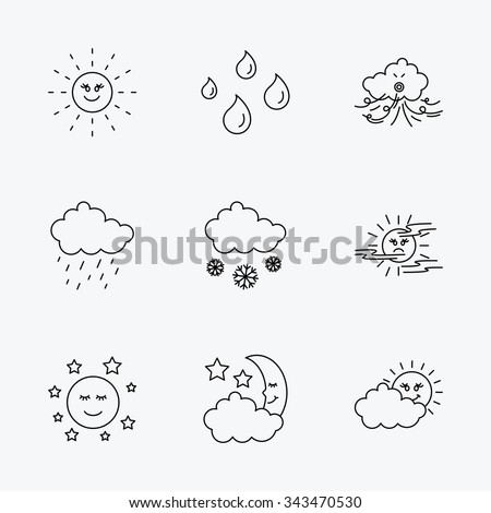 Weather, sun and rain icons. Moon night, clouds and mist linear signs. Wind, cloudy day and water drops flat line icons. Linear black icons on white background.
