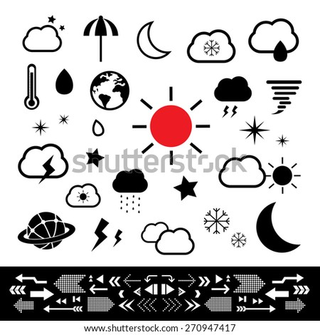 weather symbol set on white background