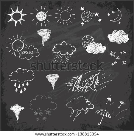 Weather symbols set on on chalkboard blackboard . Hand drawn sketch illustration - stock vector