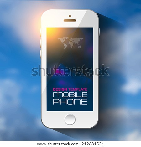 Weather template for computing web and app with white mobile phone and blurred background. Sky texture. Vector illustration. - stock vector