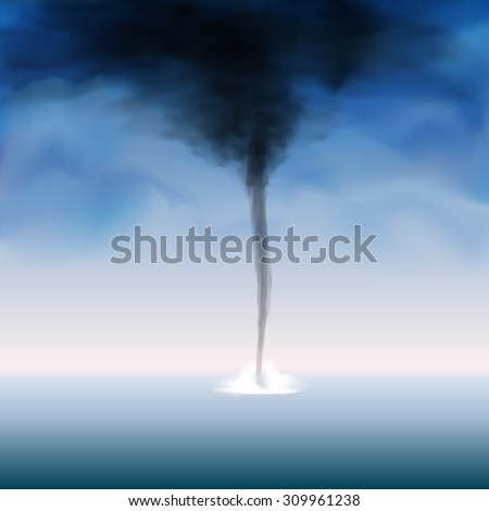 Weather tornado at the sea with dark sky. Vector illustration - stock vector