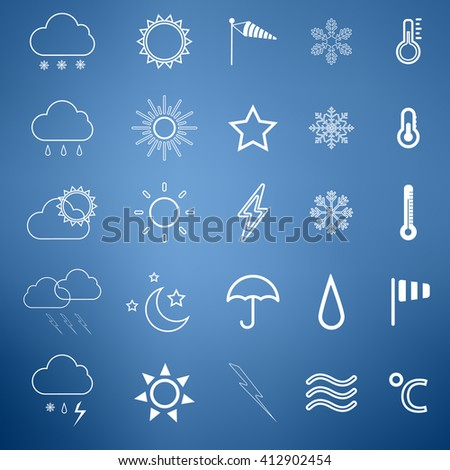 Weather vector line icon set white color on blue background. Meteorology template instruments for app and web.